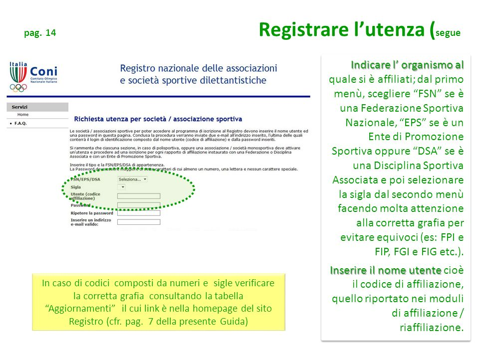 pag. 14 Registrare l'utenza (segue