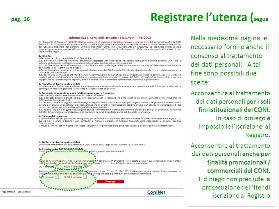 pag. 16 Registrare l'utenza (segue
