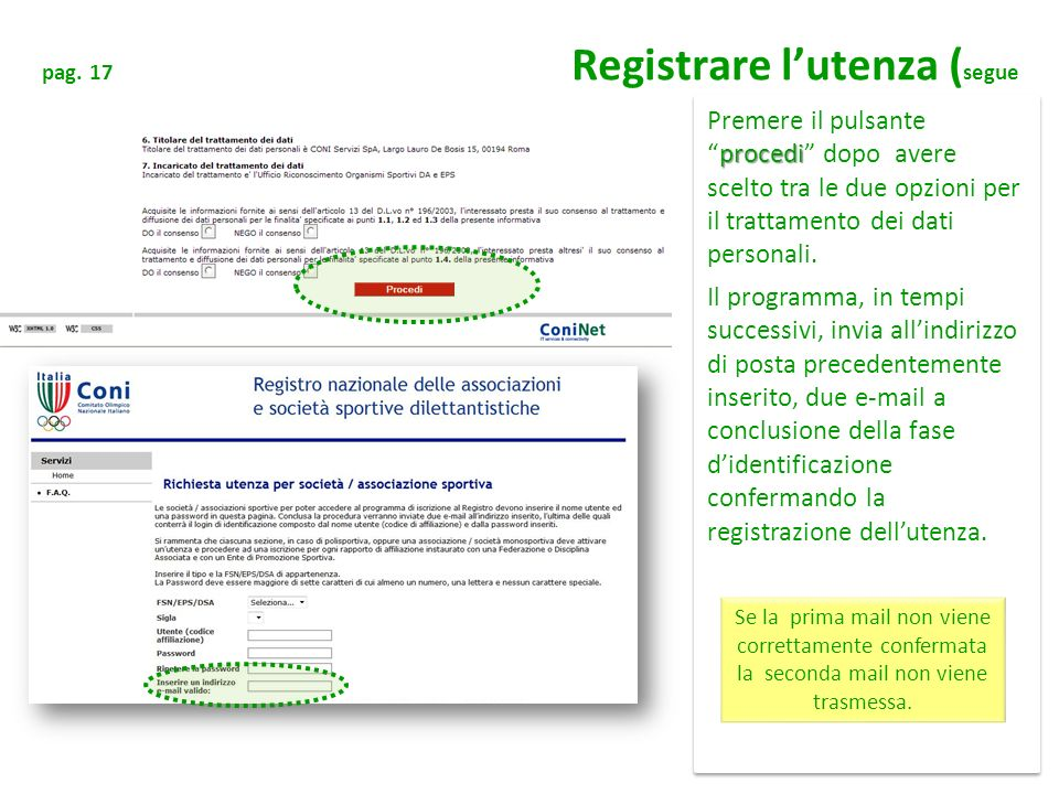 pag. 17 Registrare l'utenza (segue