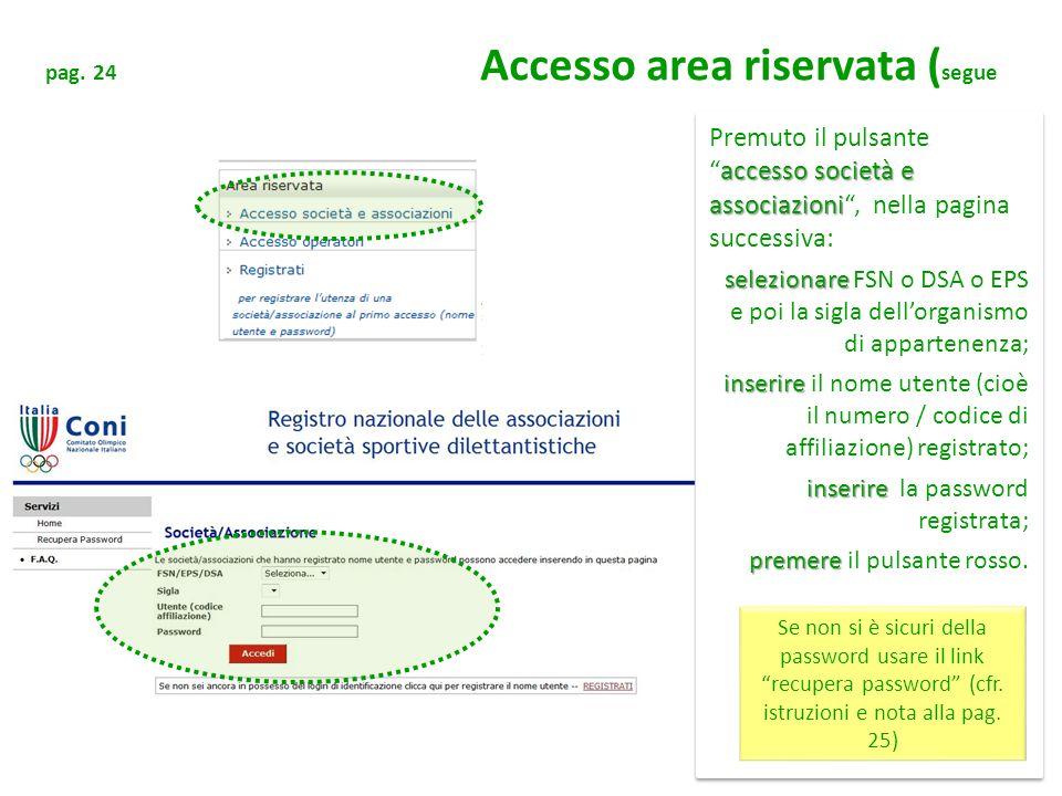 pag. 24 Accesso area riservata (segue