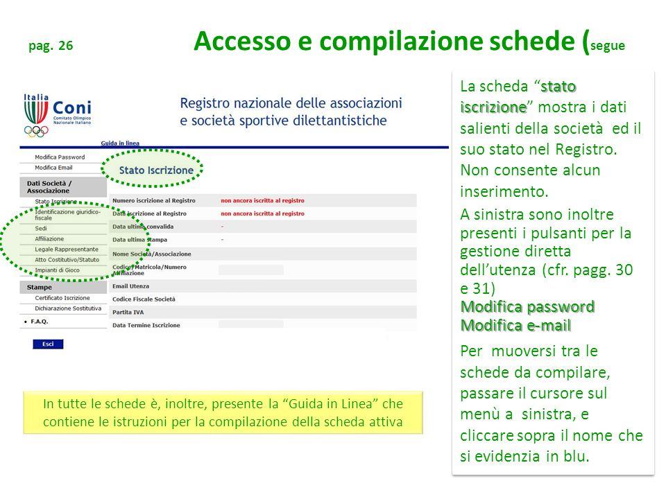 pag. 26 Accesso e compilazione schede (segue