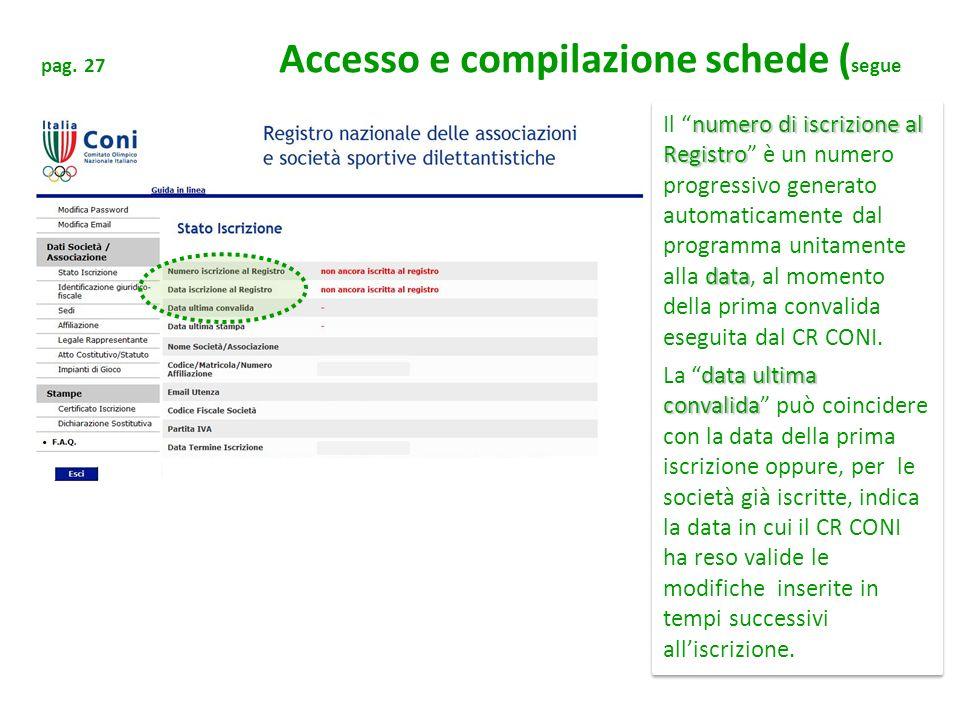pag. 27 Accesso e compilazione schede (segue