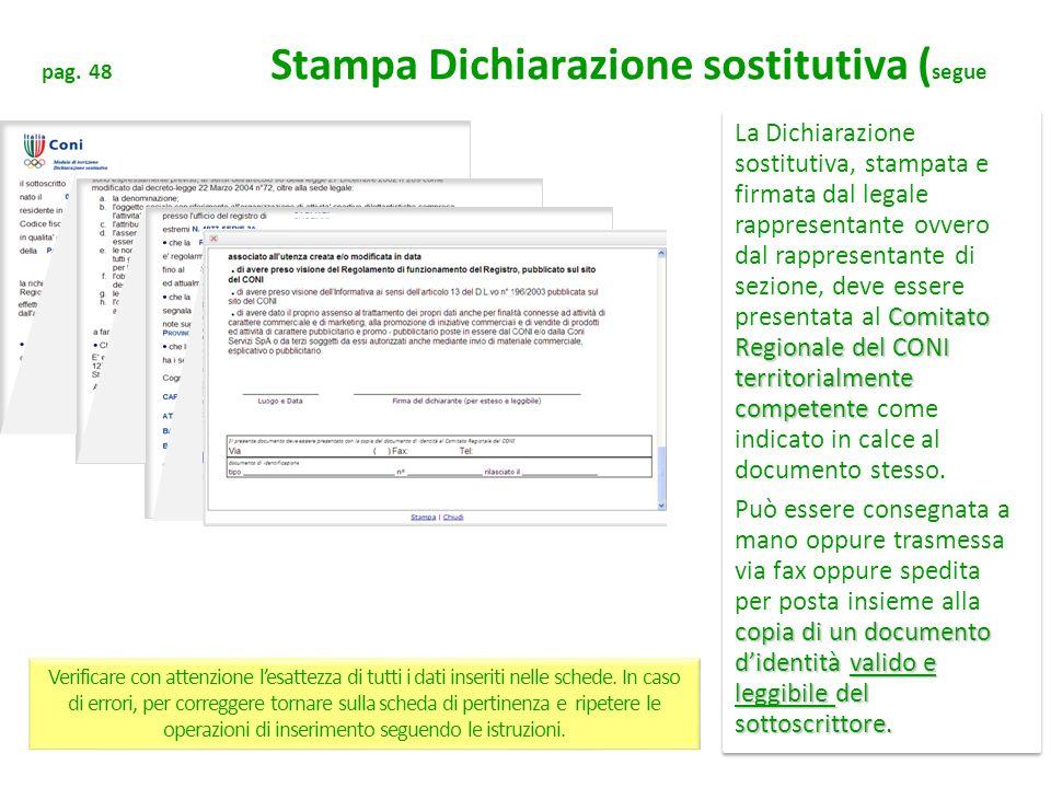 pag. 48 Stampa Dichiarazione sostitutiva (segue