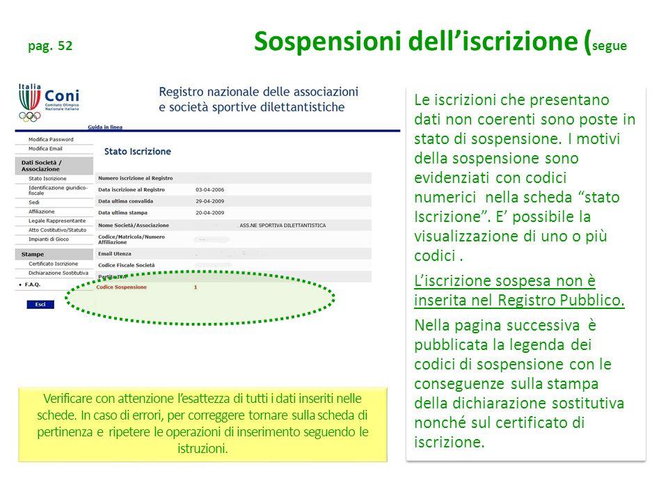 L'iscrizione sospesa non è inserita nel Registro Pubblico.