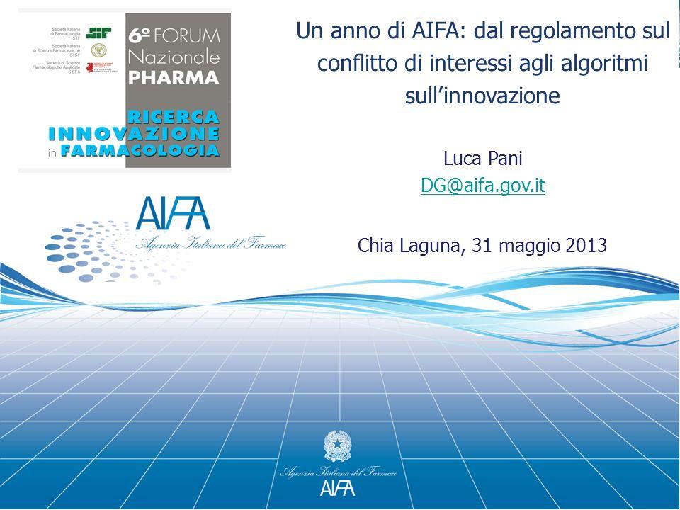 Un anno di AIFA: dal regolamento sul conflitto di interessi agli algoritmi sull'innovazione