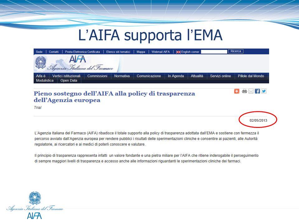 L'AIFA supporta l'EMA