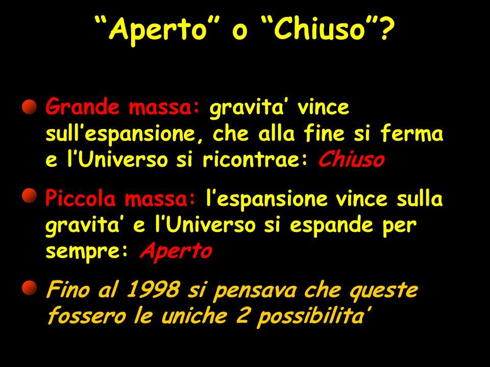 Aperto o Chiuso Grande massa: gravita' vince sull'espansione, che alla fine si ferma e l'Universo si ricontrae: Chiuso.