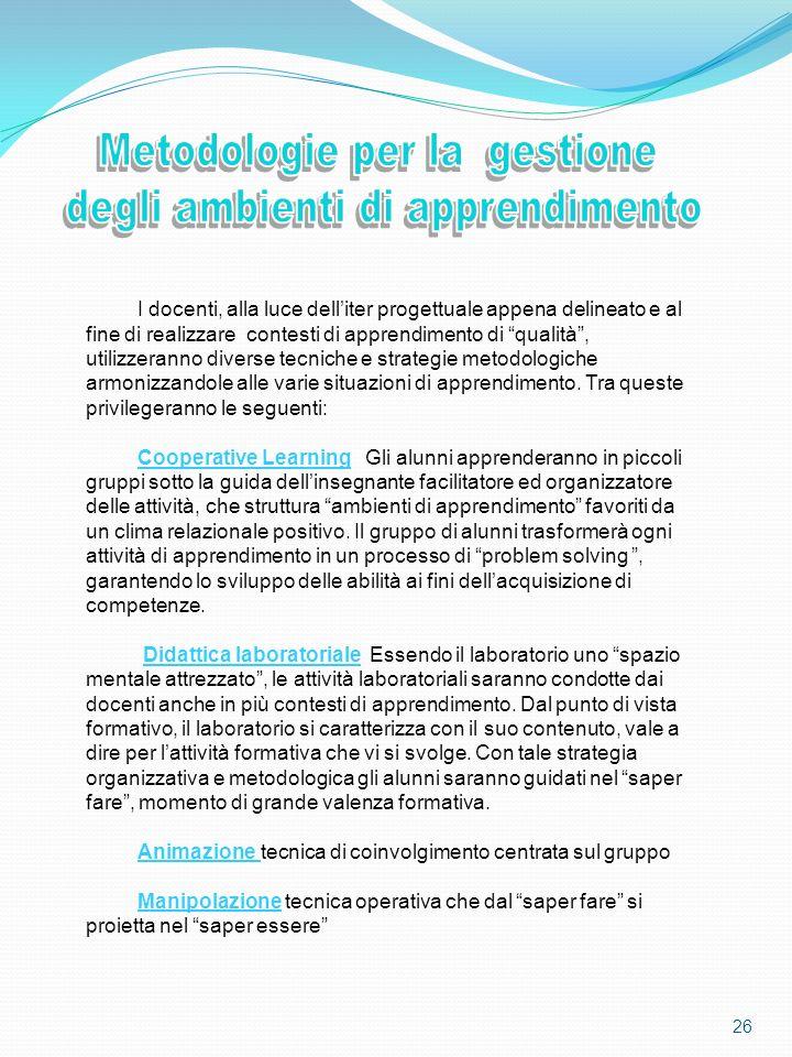 Metodologie per la gestione degli ambienti di apprendimento