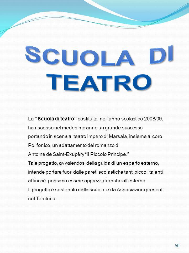 Scuola di teatro. La Scuola di teatro costituita nell'anno scolastico 2008/09, ha riscosso nel medesimo anno un grande successo.