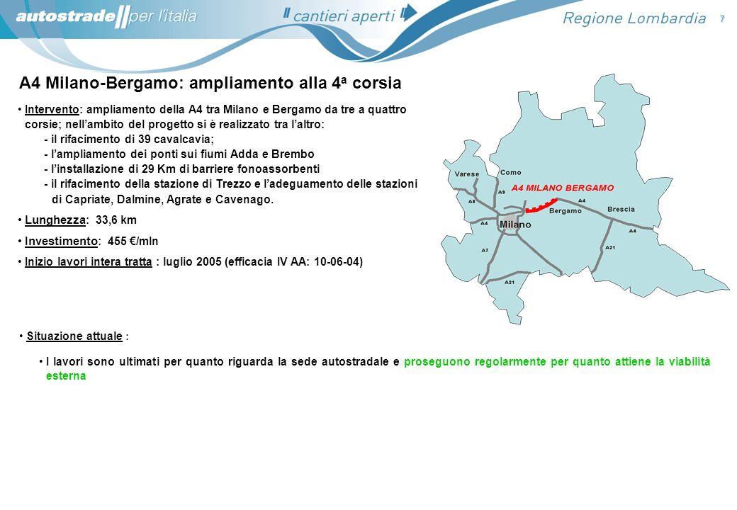 A4 Milano-Bergamo: ampliamento alla 4a corsia