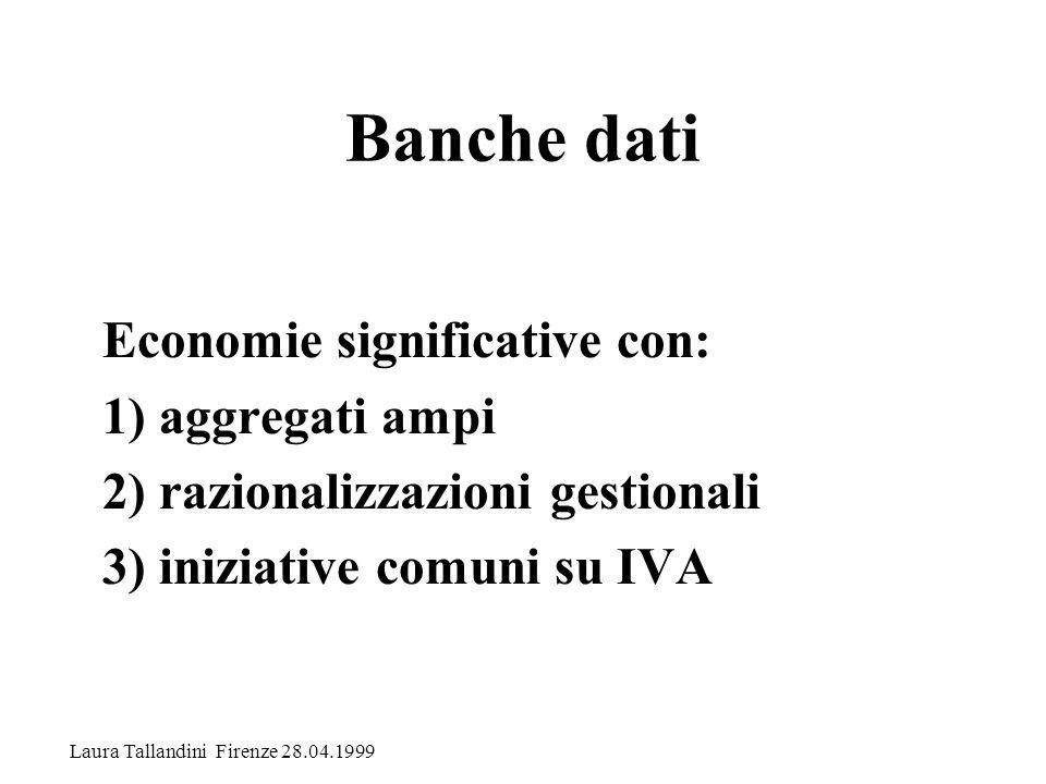 Banche dati Economie significative con: 1) aggregati ampi