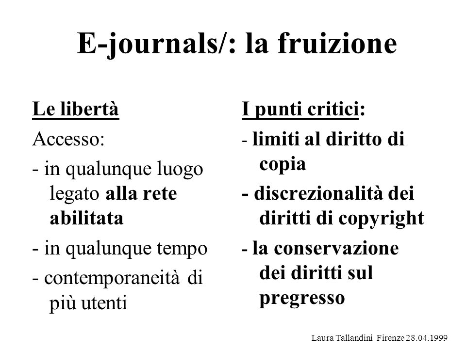 E-journals/: la fruizione