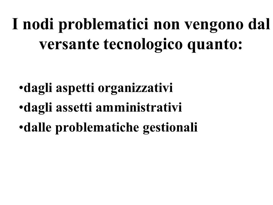 I nodi problematici non vengono dal versante tecnologico quanto:
