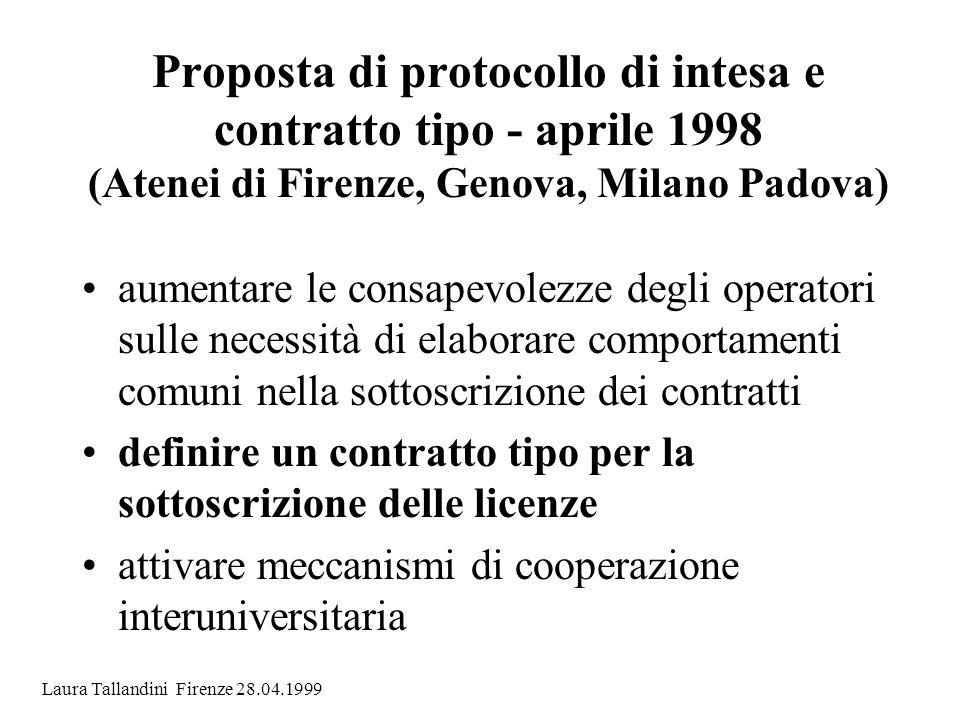 Proposta di protocollo di intesa e contratto tipo - aprile 1998 (Atenei di Firenze, Genova, Milano Padova)