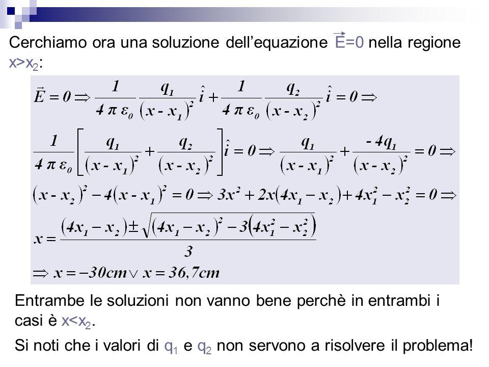 Cerchiamo ora una soluzione dell'equazione E=0 nella regione x>x2: