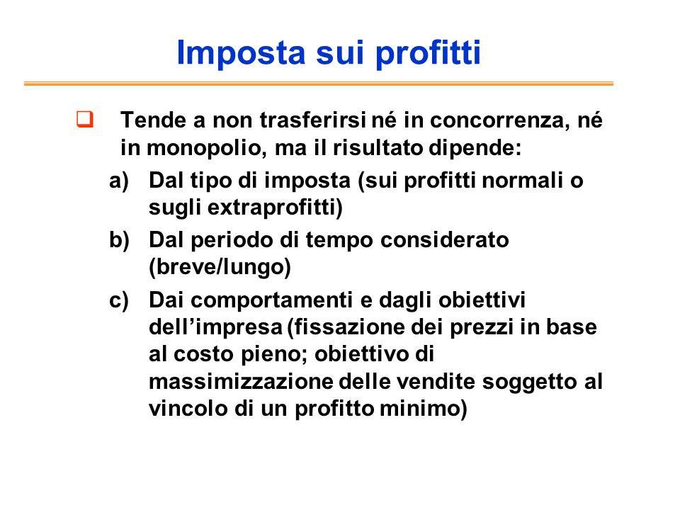 Imposta sui profittiTende a non trasferirsi né in concorrenza, né in monopolio, ma il risultato dipende: