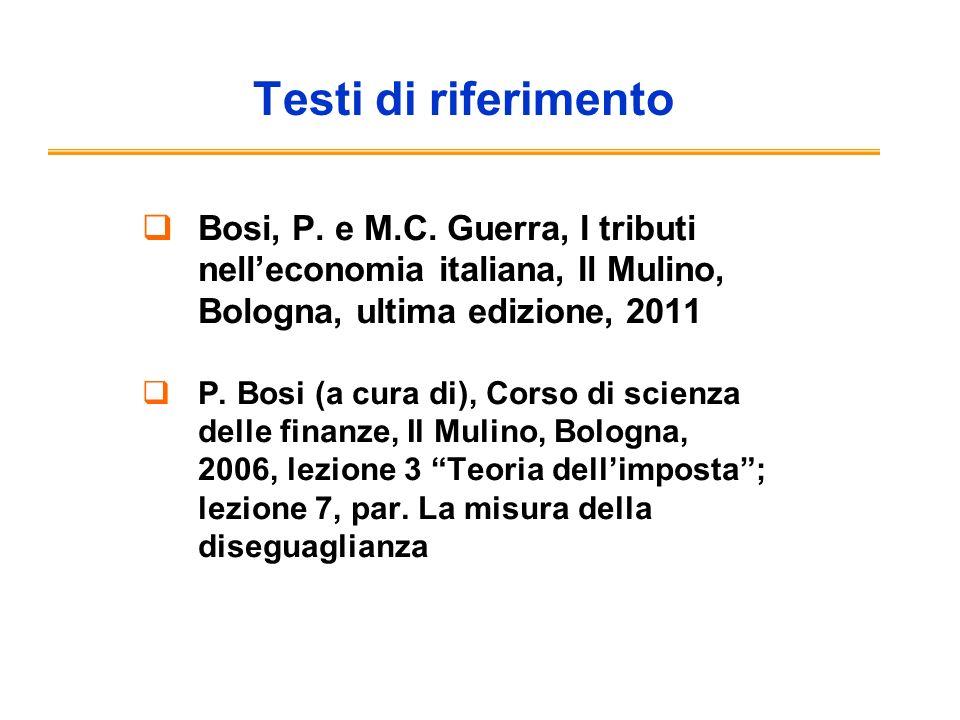 Testi di riferimento Bosi, P. e M.C. Guerra, I tributi nell'economia italiana, Il Mulino, Bologna, ultima edizione, 2011.