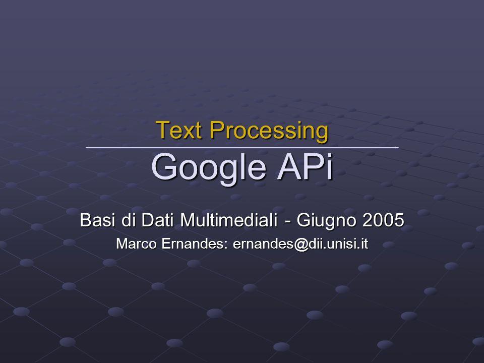 Text Processing Google APi