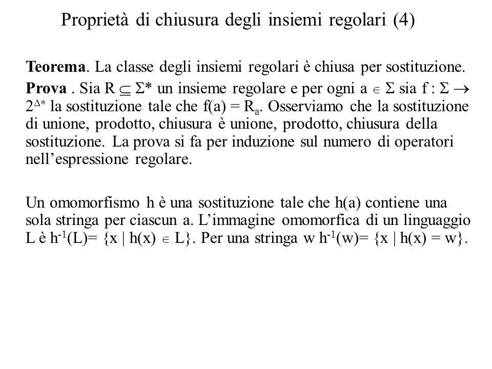 Proprietà di chiusura degli insiemi regolari (4)