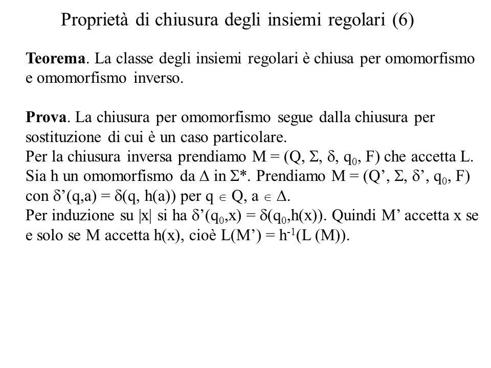 Proprietà di chiusura degli insiemi regolari (6)