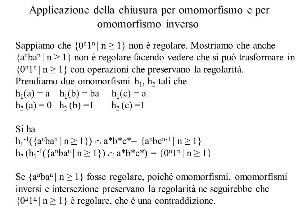 Applicazione della chiusura per omomorfismo e per omomorfismo inverso