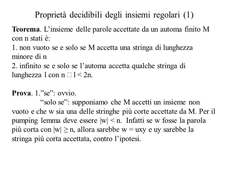 Proprietà decidibili degli insiemi regolari (1)