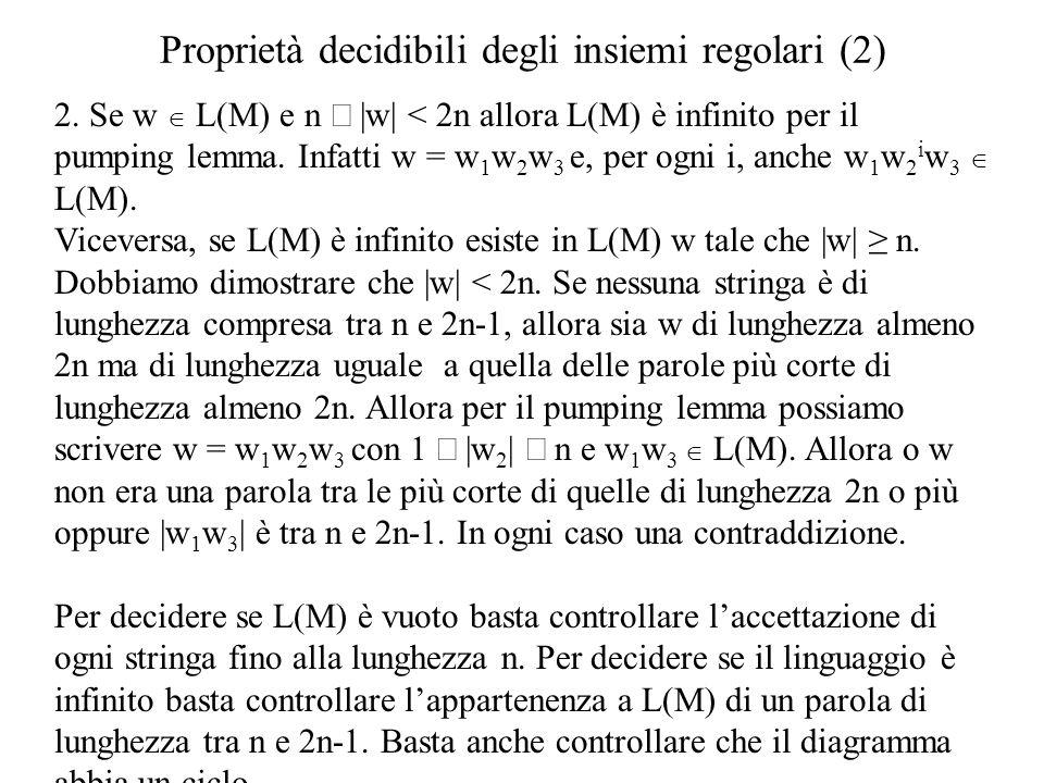 Proprietà decidibili degli insiemi regolari (2)