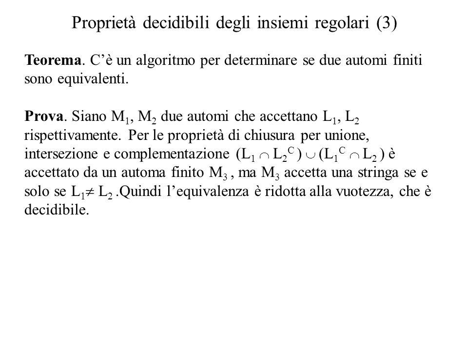Proprietà decidibili degli insiemi regolari (3)