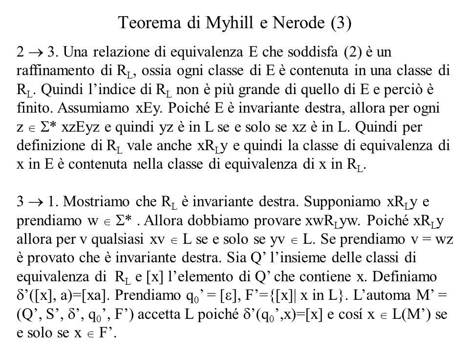 Teorema di Myhill e Nerode (3)