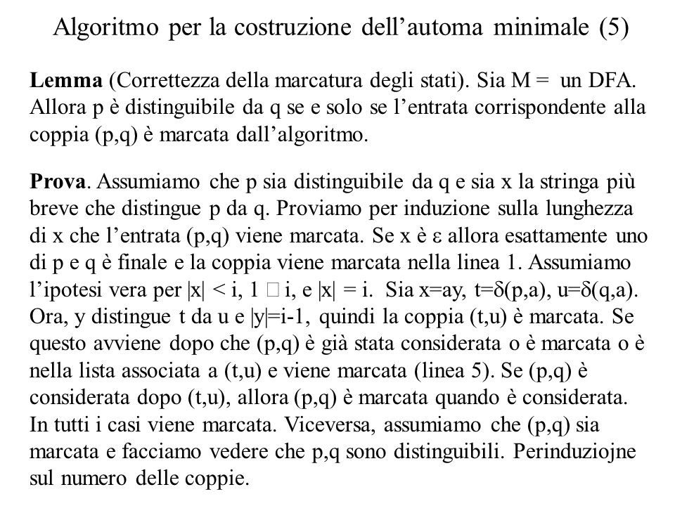 Algoritmo per la costruzione dell'automa minimale (5)