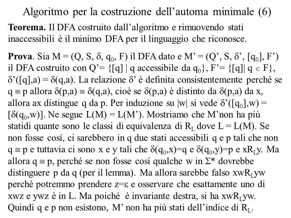 Algoritmo per la costruzione dell'automa minimale (6)