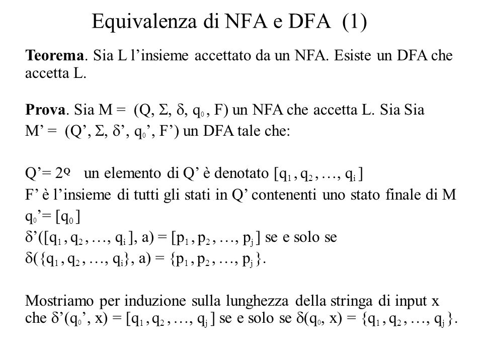 Equivalenza di NFA e DFA (1)