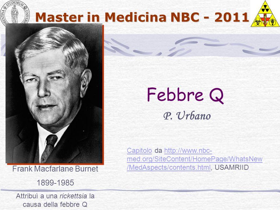 Febbre Q P. Urbano Frank Macfarlane Burnet 1899-1985
