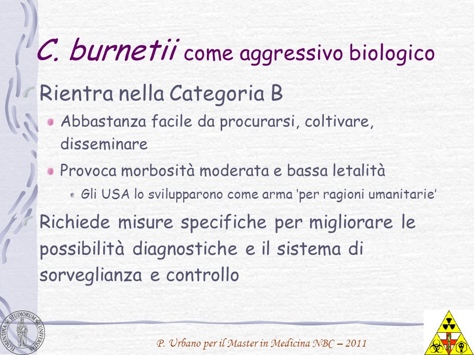 C. burnetii come aggressivo biologico