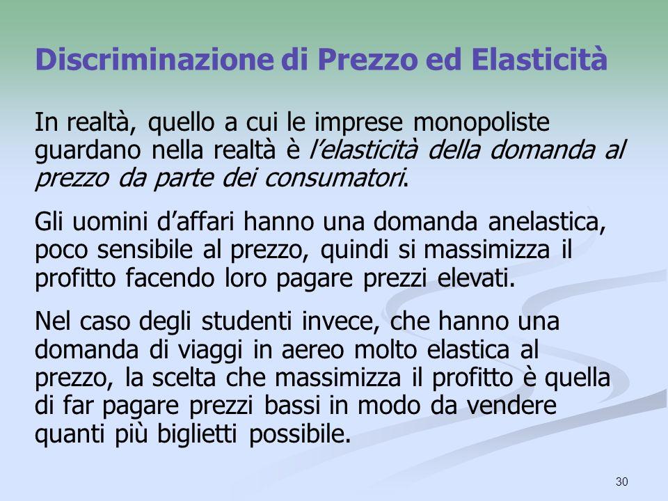 Discriminazione di Prezzo ed Elasticità