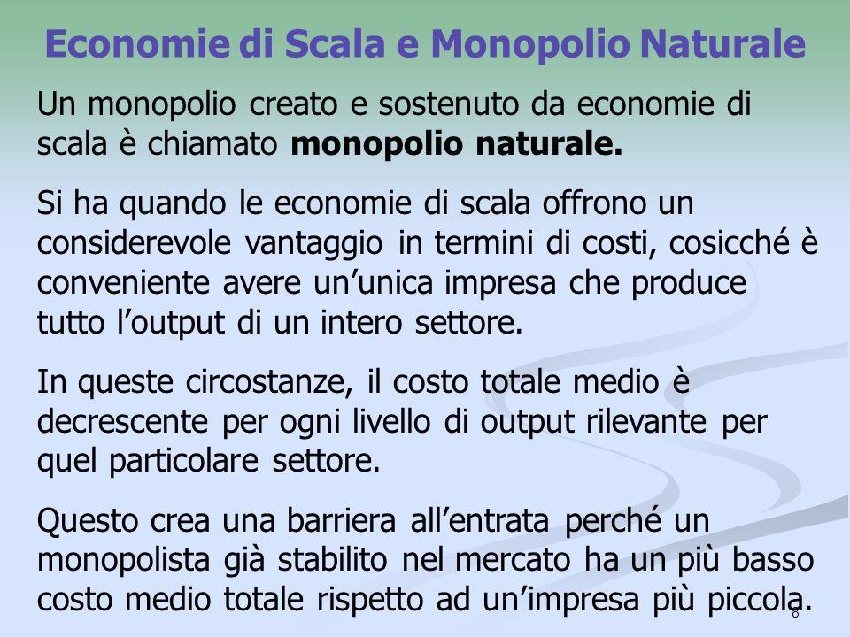 Economie di Scala e Monopolio Naturale