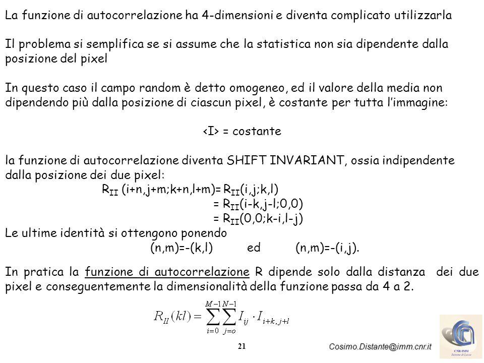 La funzione di autocorrelazione ha 4-dimensioni e diventa complicato utilizzarla