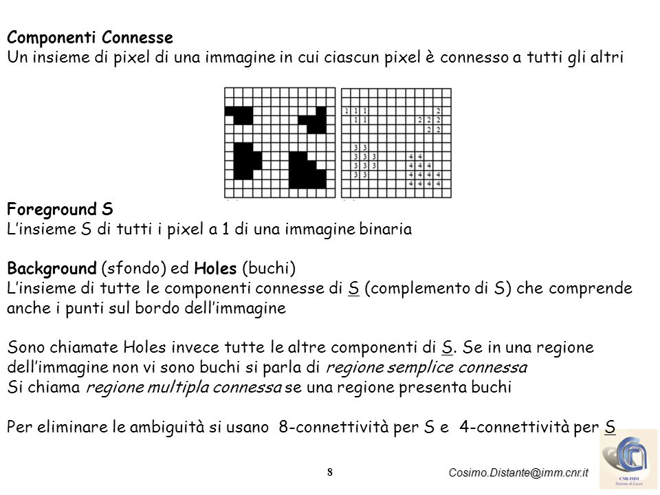 Componenti Connesse Un insieme di pixel di una immagine in cui ciascun pixel è connesso a tutti gli altri.
