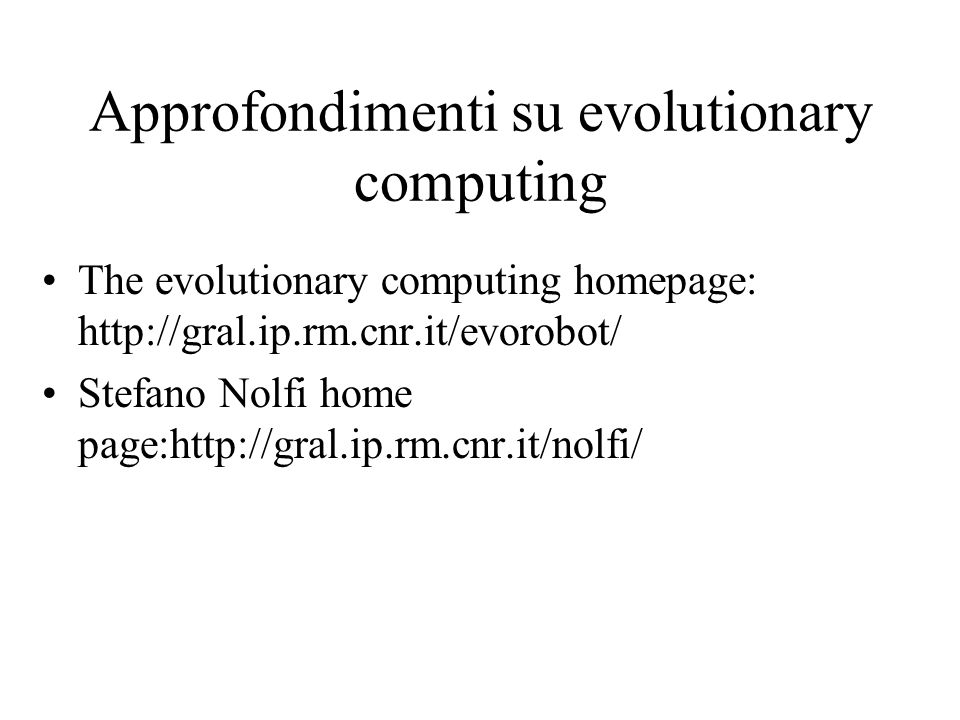 Approfondimenti su evolutionary computing