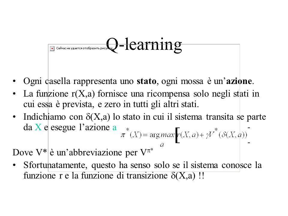 Q-learning Ogni casella rappresenta uno stato, ogni mossa è un'azione.