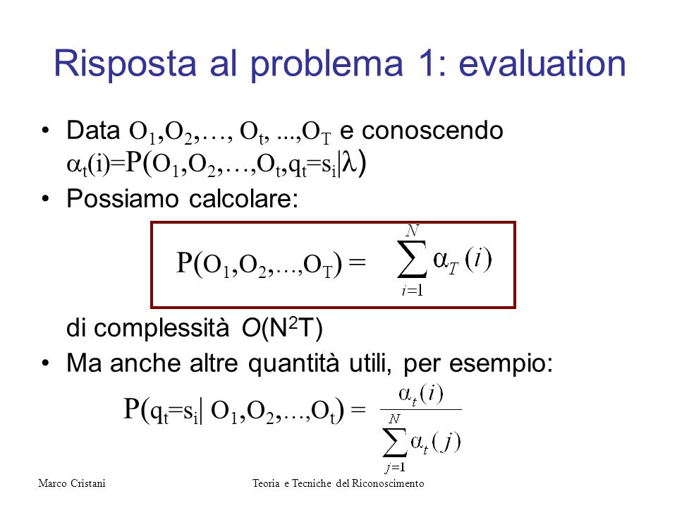 Risposta al problema 1: evaluation