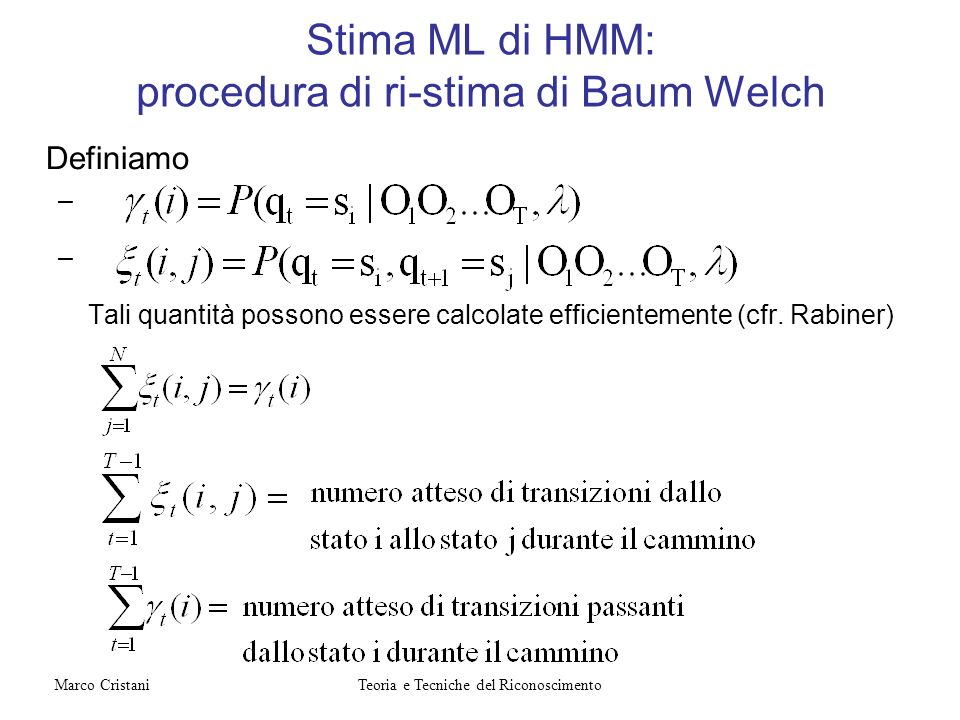 Stima ML di HMM: procedura di ri-stima di Baum Welch