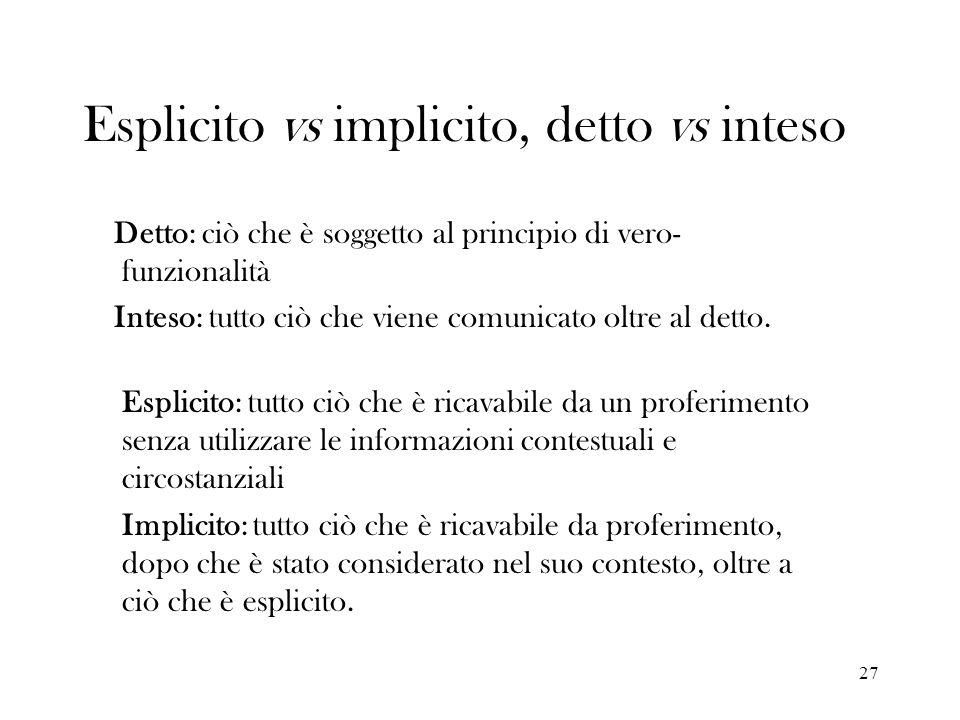 Esplicito vs implicito, detto vs inteso