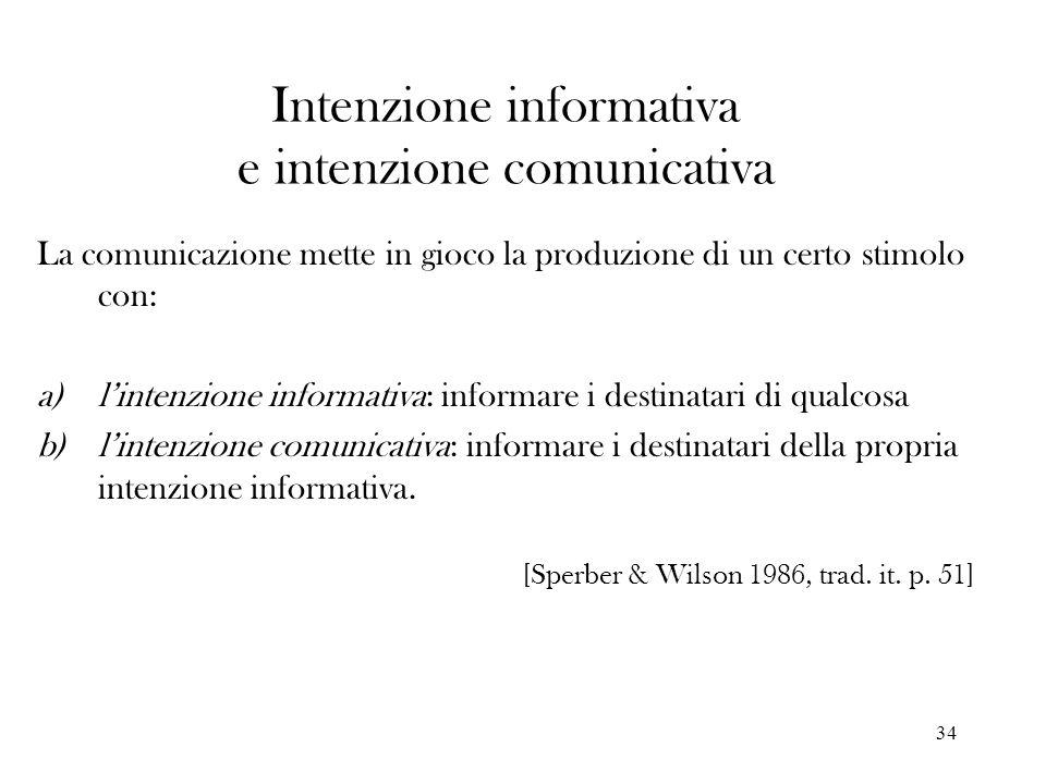 Intenzione informativa e intenzione comunicativa