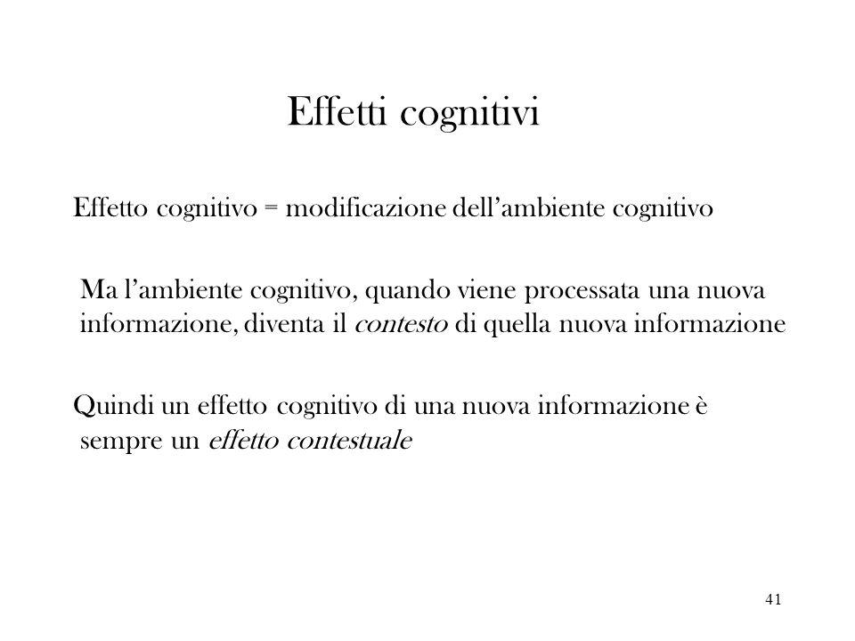 Effetti cognitiviEffetto cognitivo = modificazione dell'ambiente cognitivo.