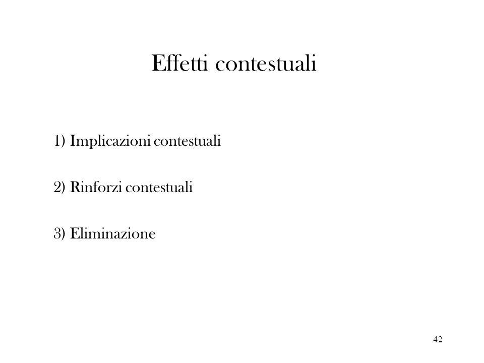 1) Implicazioni contestuali 2) Rinforzi contestuali 3) Eliminazione