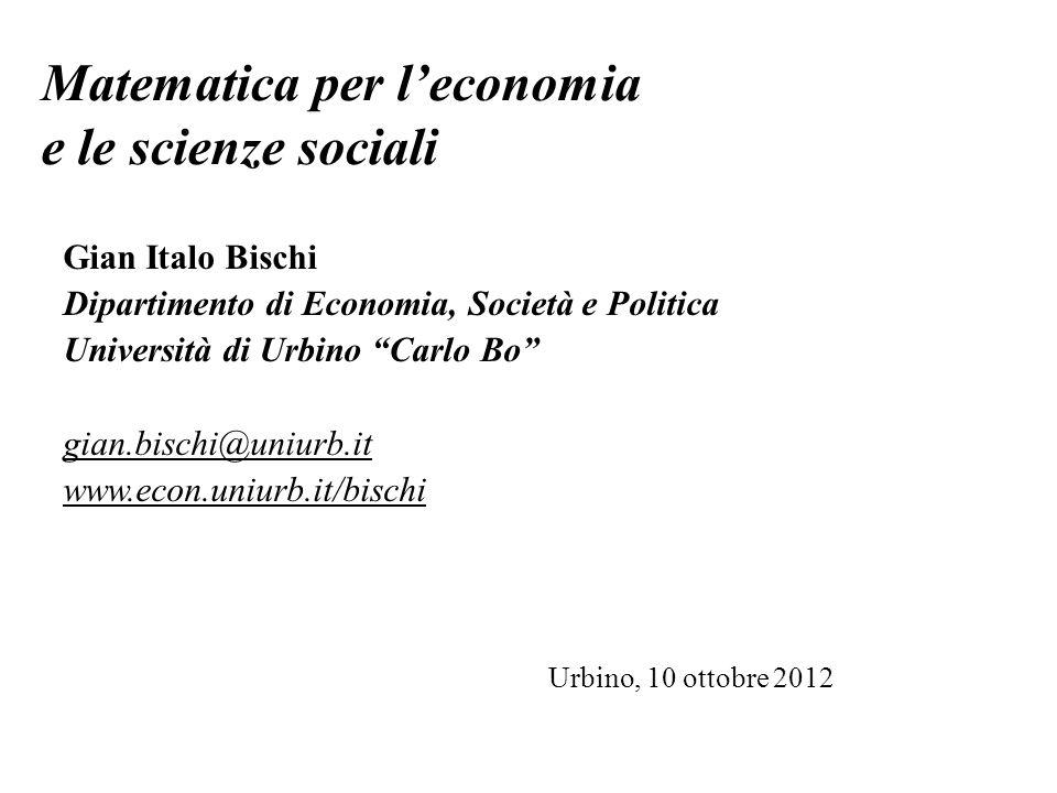 Matematica per l'economia e le scienze sociali