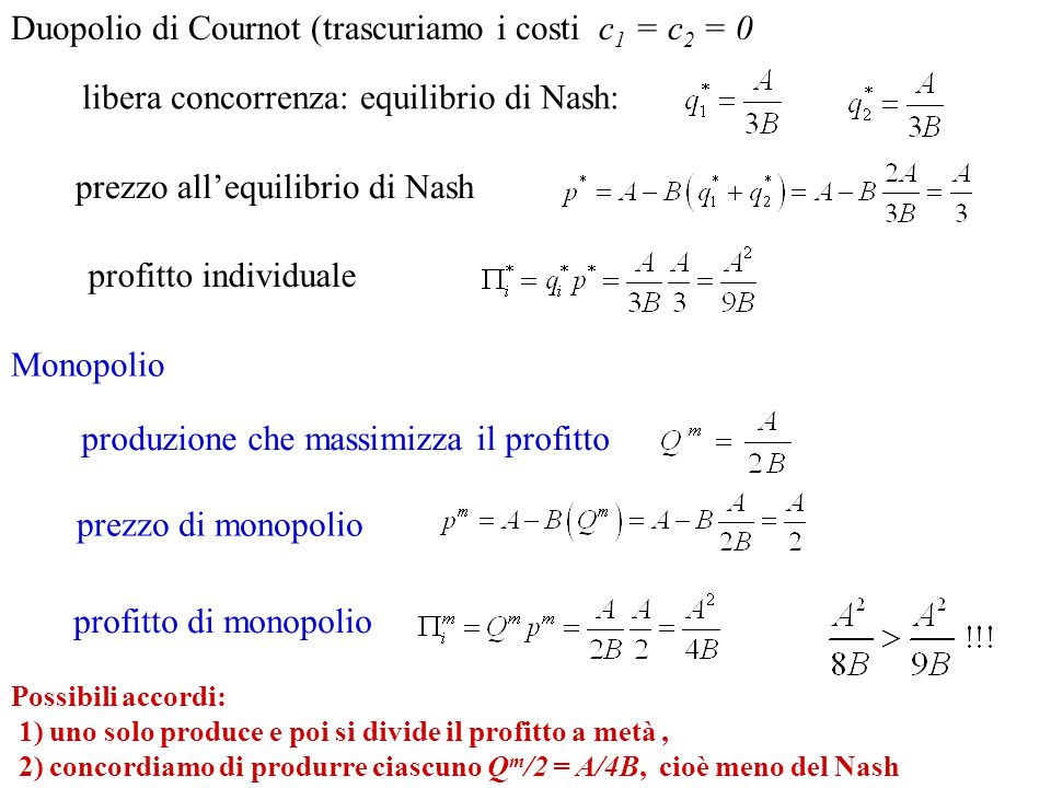 libera concorrenza: equilibrio di Nash: