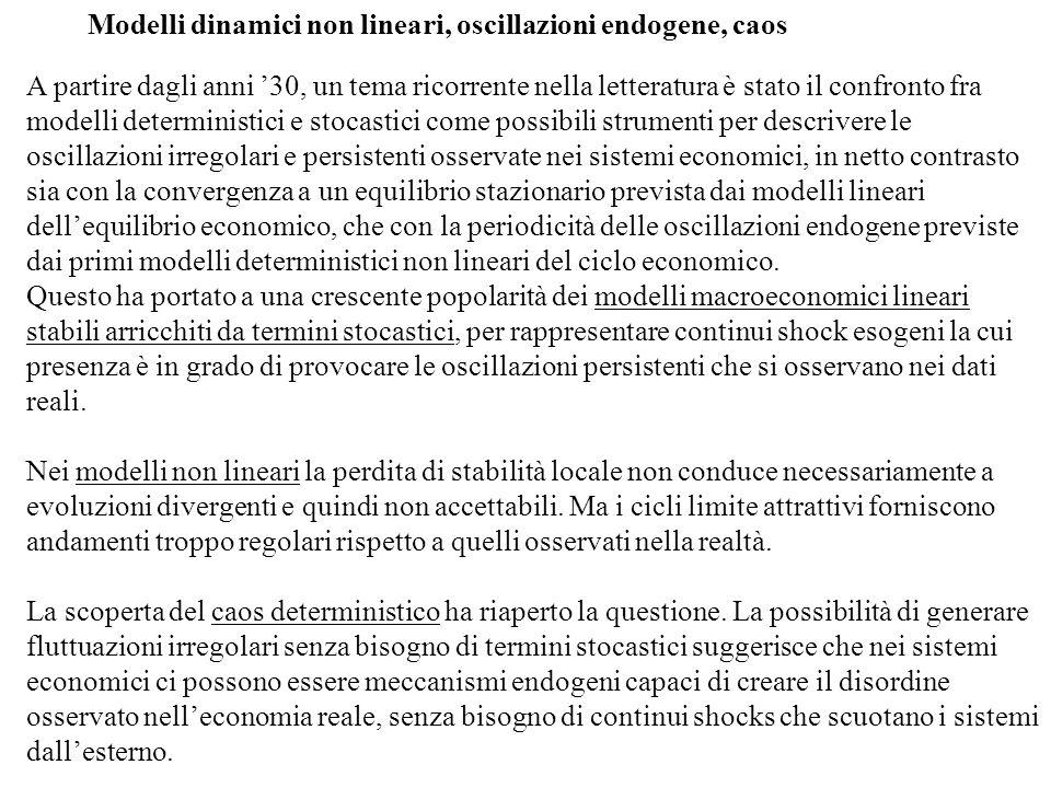 Modelli dinamici non lineari, oscillazioni endogene, caos