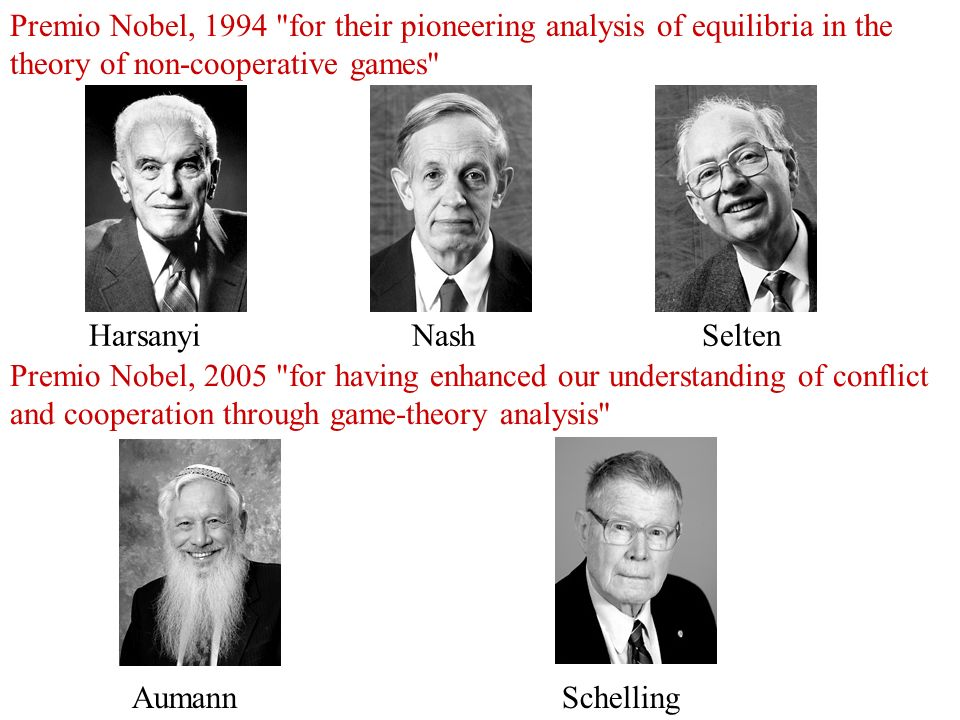 Premio Nobel, 1994 for their pioneering analysis of equilibria in the theory of non-cooperative games
